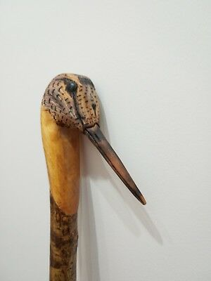 Woodcock carved by hand on hazel shank, walking hunting, beating or hiking stick