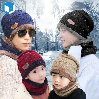 Kid Men Women Winter Warm Beanie Hat Scarf Set Knitted Balaclava Snow Ski Cap