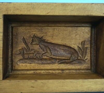 Antique Swiss Black Forest Wood Carving BUTTER MOLD Lazy Cow c1920 Holiday