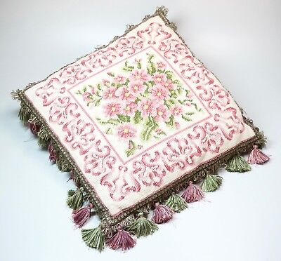 """Vintage Wool Needlepoint Pillow Floral Motif Tassels Pink White Green 17"""" Square"""