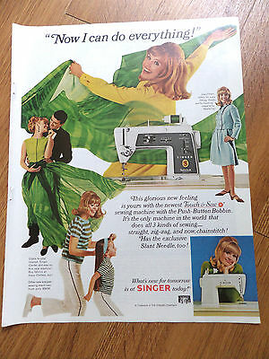 1966 Singer Sewing Machine Ad Touch & Sew Now I can do Everything
