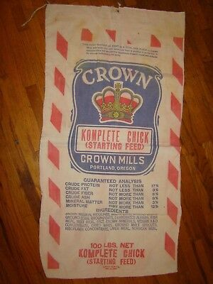 Vintage Crown Mills Chick Feed Seed Sack Advertising 2 Sided Fabric Bag Chicken