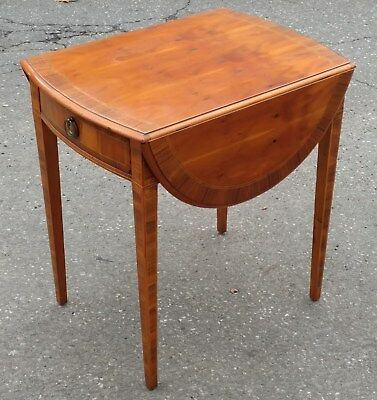 Antique Yew Wood Inlaid Drop Leaf PEMBROKE TABLE Alfonso Marina