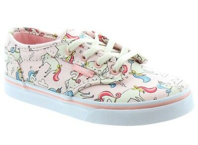 80e843c96c Vans Atwood Junior Girls Kids Unicorn Trainers Shoes Pumps in Pink Size 4  or 5