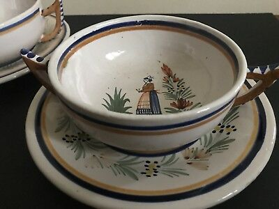 Mn Estate Special 1925 Quimper Pair (4 Pc) Cream Soup & Charger Breton Couple