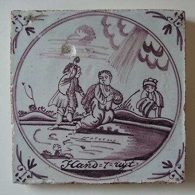 "18th Century DUTCH DELFT BIBLICAL TILE ""Acts: The Stoning of Stephen"""