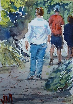 "ACEO Original Watercolor Painting collectible art card ""Walking outdoors"""