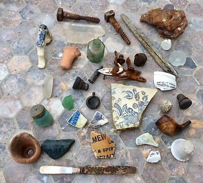 Job Lot British Shipwreck Beach Metal Detector Finds,Artefacts,Victorian Pottery