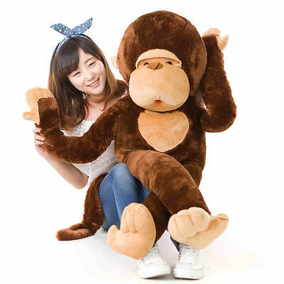 Giant Huge Large Big Stuffed Animal Soft Plush Brown Monkey 90cm