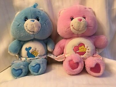 Care Bears Baby Tugs and Hugs Blue and Pink Boy & Girl Plush with Diapers