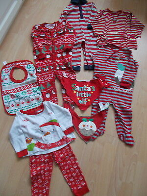 Bundle Unisex Baby Boy/Girl Christmas Clothes 8 Items Age 9-12 Months