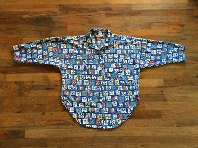 Vintage Fireworks Button Up Abstract Art Shirt - Fendi Picasso Faces - Medium