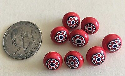 Vintage Small RED CERAMIC Glass Buttons, Painted  Design. Set of 8, beauties!