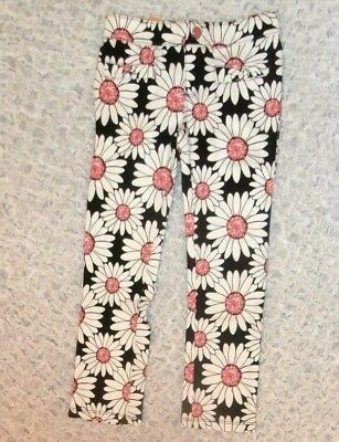Nwt Gymboree Kitty In Pink Girls Size 4 Black Pink Daisy Floral Ponte Pants New
