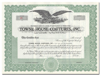 Towne House Coiffures, Inc Stock Certificate