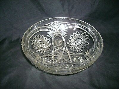 Stunning VTG ABP Cut Glass Crystal Dish American Brilliant Period Footed  Bowl