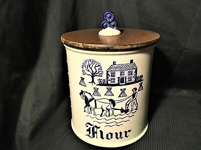 Metlox Poppytrail Provincial Blue Flour Canister with Lid.
