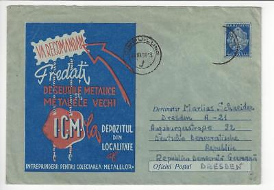 1958 Romania To DDR Germany Advertisement Cover (Maybe A Stamp Missing) (AF112)
