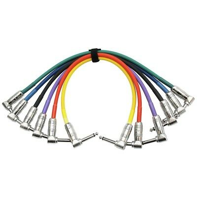 """KIRLIN Patch Cable 6 color pack - 1/4"""" Right Angle - 1/4"""" Right Angle 1 ft."""