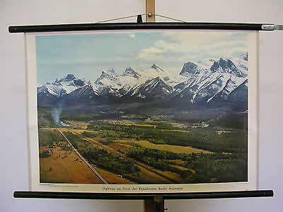 Bello Murale Highway Am Fusse Der Canadese Rocky Mountains 75x51 Vintage
