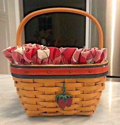Longaberger 2001 All American Strawberry Basket Combo Protector Liner Tie-On