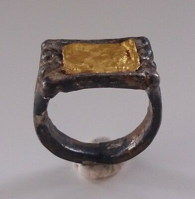 ancient antique roman silver gold ring  *rare*
