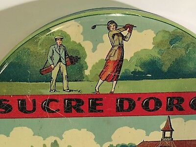 Antique Candy Biscuit Tin   Nice Litho Lady Golf Caddie Boat Advertising