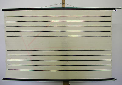 Beautiful Old Schulwandkarte Notenlineatur on Fabric Printed 119x75 Vintage~1960