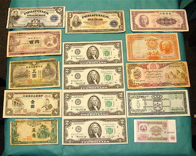 Vintage~~ World Currency Bank Notes ~~~Fifteen  (15)  Notes-~~-USA Star Notes***