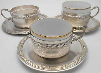 EGYPTIAN 900 SOLID SILVER - 327g - TEA CUPS & SAUCERS - VINTAGE 1932