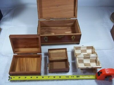 Lot Of 4 Vintage Wood Cedar Chest Jewelry Boxes, Metal Strap Hinges Dove Tailed