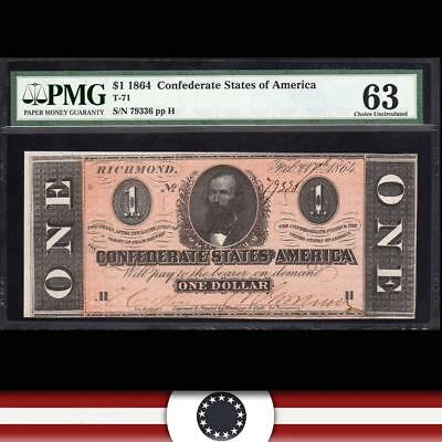 T-71 1864 $1 Confederate Currency Csa  Pmg 63   79336