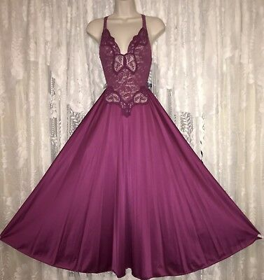 VTG Rare Merlot WINE OLGA ALL LACE BODICE Nightgown Negligee Gown 91060 M L USA
