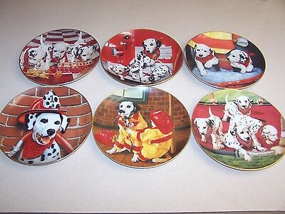 """The Danbury Mint-""""FIRE CAPERS"""" 1992 Dalmatians (6) Plates by Marty Roper VG+"""