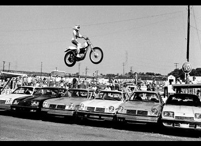 "Evel Knievel Silk Fabric Print Jumping Over 6 Cars. 19-1/2"" X 29-1/2"""