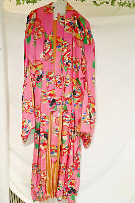 """Authentic Vintage Japanese Silk Robe - 55"""" Long"""