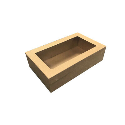 100x Disposable Cardboard Catering Box w Clear Window Kraft Brown 258x150x90mm