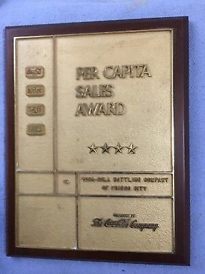 1960'S Coca Cola Per Capita Sales Brass Award Sign Fresco City Alabama Bottling