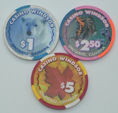 Set of 3 Casino Windsor $1-$2.50-$5 Casino Chips Ontario Canada H&C Paul-son