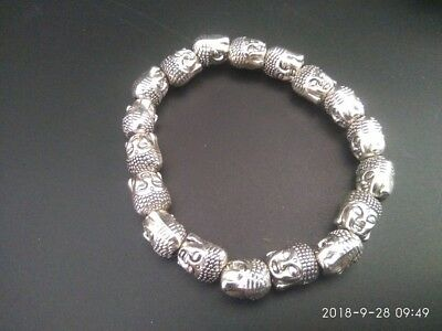 EXQUISITE COLLECTABLE TIBET SILVER HAND CARVED Buddha's head BRACELET RN