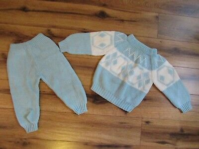 Bloomingdale's  Vintage Baby Knitted Winter Outfit~Light Blue White ~ L/XL  6-9m