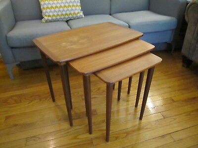 vintage mid century danish modern teak nesting tables set of three