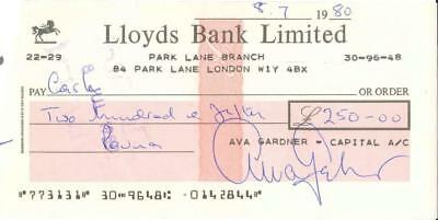 Ava Gardner Signed Check Drawn Upon London Banking Account with Free Photo