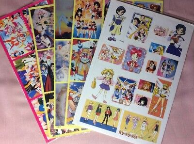 5 Vintage Sailor Moon Sticker Sheets In Plastic. 1 Sheet Is Misprinted/Miss-cut