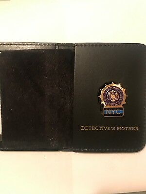 NYC Detective Mother  Thin Blue Line  Mini Shield  Leather Wallet ID