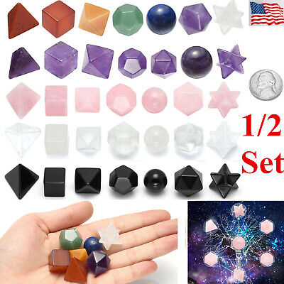 Set 7 Chakra Gemstone Platonic Solids Geometry Healing Reiki Merkaba Decor Gift