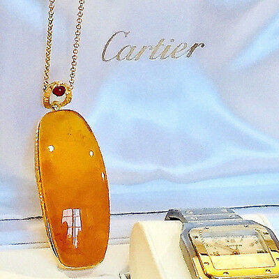 14k Gold Plated Genuine Russian Baltic Amber Necklace Butterscotch Egg Yolk 老琥珀