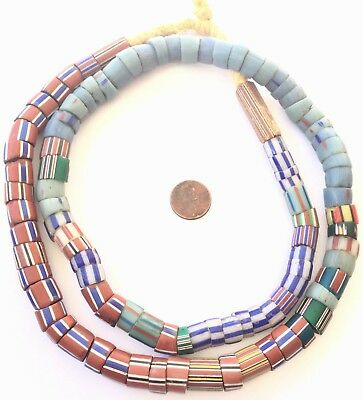 Strand of Antique Venetian Glass Assorted Drawn Wound African Trade Beads -Ghana