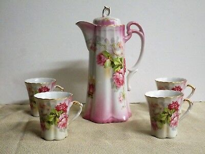 Vintage Hand Painted Nippon Chocolate Pot with 4 Cups - Pink Roses - Floral