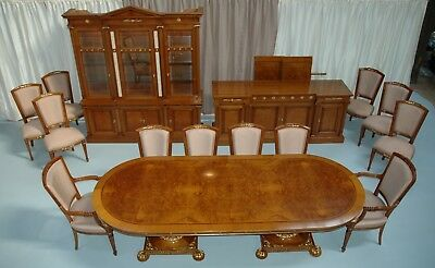 Colombo Mobili Cherry Myrtle Burl Dining Set, 12 Chairs, China, Sideboard, Table